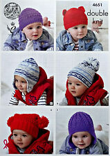 Baby KNITTING PATTERN Easy Knit Childrens & Babies Hats DK King Cole 4651