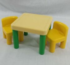 Vintage Little Tikes Dollhouse Table Chairs Dining Yellow Green Toy Furniture