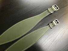 LINED Leather Dog Collars Whippet Greyhound - Sizes S, M, L - ARMY GREEN