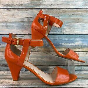 Nine West Ceece Womens Orange Leather Sandals Open Toe Adjustable Strap Size 12M