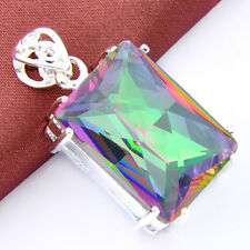 2Pieces/lot  Handmade Nice Rainbow Colored Topaz Gemstone Silver Women Pendant