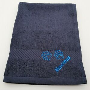 Navy Personalised Embroidered Dog Towel with Eyelet Name Paw Prints Muddy Paws