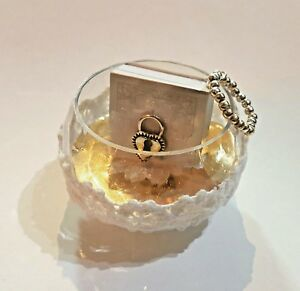 lace hanging silver gift Psalms book heart lock Design Beads glass gold white