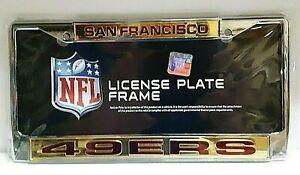 San Francisco 49ers Silver Laser License Plate Frame