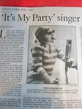 1946-2015 LESLEY GORE OBITUARY IT'S MY PARTY SINGER SHOT TO FAME