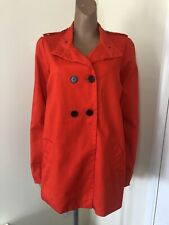 La Redoute Pillarbox Red Long Pea Trench Coat Size 16