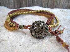 Bronze Brown Glass Seed Beads Leather Wrap Multi Strand Beaded Fashion Bracelet