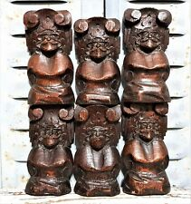 6 Gothic figure corbel Antique french carved wood salvaged ornament furniture