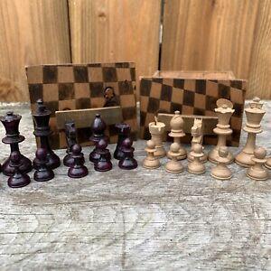 Vintage Wooden Chess Men Pieces Chess Set