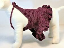 DEEP PLUM PURPLE DOG SWEATER HALTER DRESS CROCHETED KNIT TOY BREED PUPPY CLOTHES