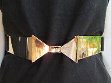 New Women Belt Fashion Hip High Waist Gold Metal Plate Thin Bow Black Elastic