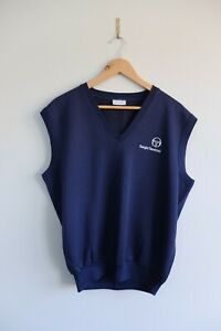 Vintage Sergio Tacchini 80s 90s cotton tank top L Navy Made in Italy
