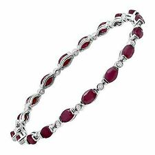 10 Ct Natural Ruby & White Topaz Link Bracelet in Sterling Silver Jb00562ru-7.5
