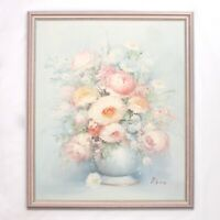 Vintage Framed Oil Painting on Canvas 'Flowers in a Vase' (50cm x 60cm)