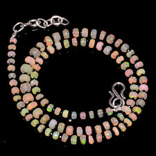 36CRTS 18'' ETHIOPIAN OPAL FACETED & BLACK SPINEL FACETED BEADS NECKLACE OBI4454