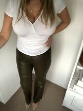 Mexx Faux Leather Olive Green Trousers Size 10