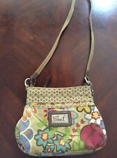 Small Floral Fossil Handbag Canvas Leather Details