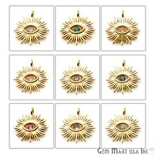 Gold Connector Marquise Evil Eye Shaped Pendant Gemstone Single Pendant 18x16mm