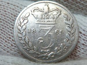 1869 Great Britain Silver Threepence 3 Pence and FREE SHIPPING