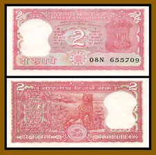 India 2 Rupees, ND 1984-1985 P-53A Sig# 83 Tiger Unc with Pinholes