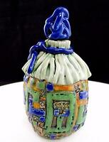 "L. LONARRE SIGNED FUNK ART CERAMIC COMICAL BAG DESIGN 5 5/8"" JUG & STOPPER"