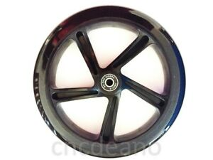 200mm ADULT SCOOTER WHEEL 30mm WIDE in BLACK PRE-FITTED WITH ABEC-9 BEARINGS