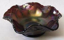 Vintage Dark Oily fluted Bowl Diamond Criss CrossThumb Print Fluted Edge Fenton