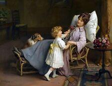"Arthur Elsley, Farm, 1910, Dog, Collie, mother daughter, 14""x11"" Art Print"
