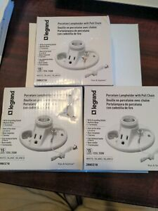 3 Ea Legrand White Lampholder with Pull Chain & Outlet, 288CC18, Pass & Seymour