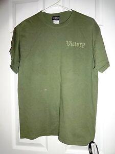 MENS VICTORY POLARIS COTTON TEE T SHIRT BATTLE SKULL GREEN MEDIUM MED M NEW