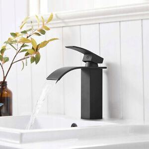 Wasserhahn Wasserfall Waschbecken Waschtischarmatur Bad WC Armatur Schwarz