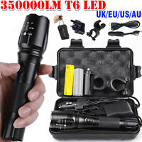 350000LM Rechargeable T6 LED Torch Flashlight Headlamp+Holder Mount For MTB Bike