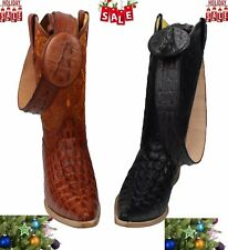 MENS WESTERN COWBOY  LEATHER CROCODILE  PRINT (EMBOSSED COCO)  BOOTS/ FREE BELT
