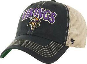 Minnesota Vikings Hat '47 NFL Football Black White Mesh Snapback Trucker Cap