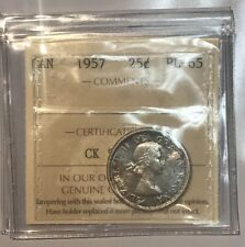 1957 Canada 25 Cent Quarter Coin proof like Uncirculated ICCS -PL 65