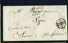 SWITZERLAND. 1857. COVER. RATED '35c' IN BLACK CACHET. GENEVE - NYON.