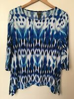 Chico's Travellers Size 1 Blue White Kilim / Tie Dye Pattern Tunic Top Blouse