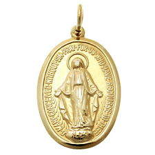 MENS OR LADIES 9CT GOLD MIRACULOUS MARY MEDAL PENDANT NECKLACE - MADONNA MEDAL