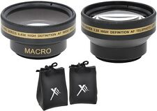 2-Pc Kit Pro HD Wide Angle & Telephoto Lens Set for Sony DCR-SR68 DCR-SR88