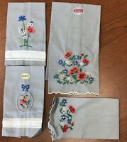 New Vintage Paragon Embroidery Flowers Pure Linen Set of 4 Napkins Asst Sizes