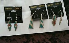Semi Precious Gem Stone Nepali Turquoise & Coral Earring set of 3 pairs pierced