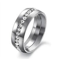 Stainless Steel CZ Eternity Wedding Band Ring Women/Men's Fashion Jewelry Sz4-15