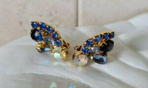 Vintage Blue Round Pear Aurora Borealis AB Rhinestone Gold Tone Clip Earrings