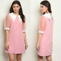 ROSE PINK MOD SHIFT 60S STYLE MINI DRESS SMALL S VINTAGE NEW NWT HOLIDAYS