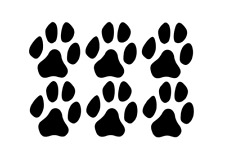 Set of 6 LARGE INDOOR USE Paw Print Decals Stickers Wall Pet Cat Dog Vinyl Great
