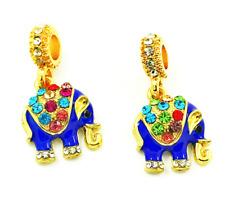 NEW Elephant European Pendant CZ Crystal Charm Beads Fit Necklace Bracelet DIY !