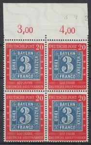 BRD 1949 MiNr. 114 postfrisch 4er-Block OR - 100 Jahre deutsche Briefmarken