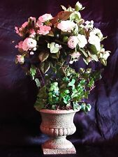 Petite White Rose & Vine Artificial Floral Display in Urn Style Vase