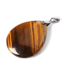 Water Drop Genuine Hanmade Huge Tiger's Eye Gemstone Silver Necklace Pendants