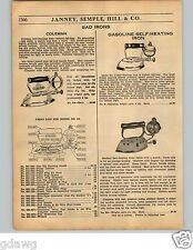 1936 PAPER AD Coleman Gas Gasoline Self Heating Sad Iron Parts Repair List Potts